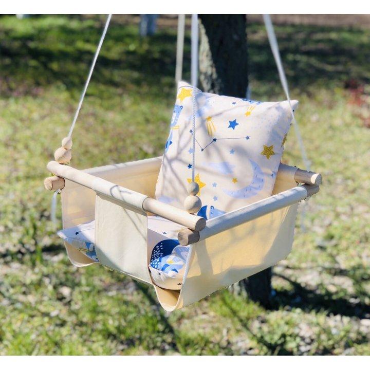 Детская тканевая подвесная качеля с подушкой ex-board