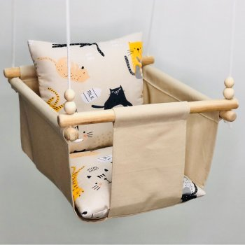 Children's fabric hanging swing with ex-board cushion